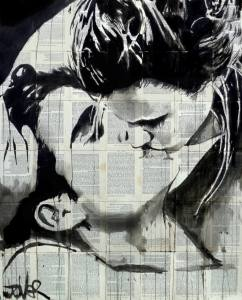 Kissing Drawing by LOUI JOVER